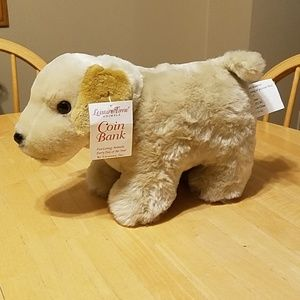 Yellow lab coin bank stuffed animal